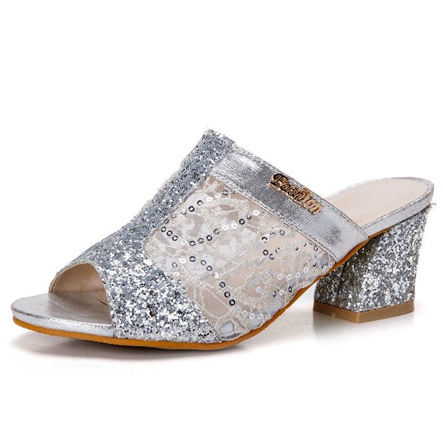 Women Sandals Bling Fashion Square Heel Summer Lace Slippers Women Sexy Hollow Sandals For Women Size 35-41