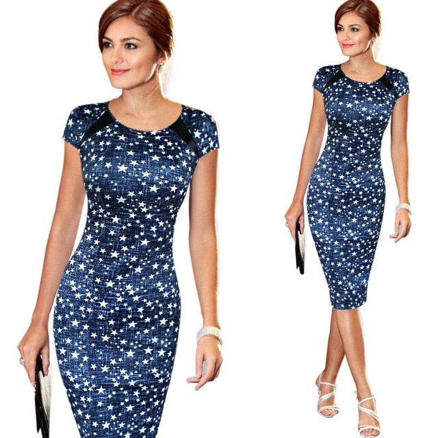 Women Bandage Bodycon Short Sleeve Party Midi Dress