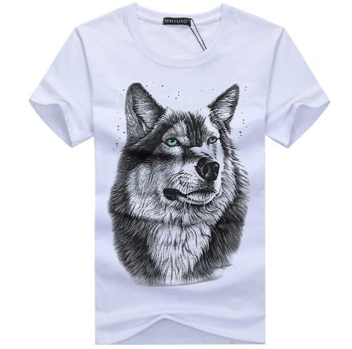 3D Wolf Head Man Round Collar Short Sleeve T-Shirt - Sheseelady