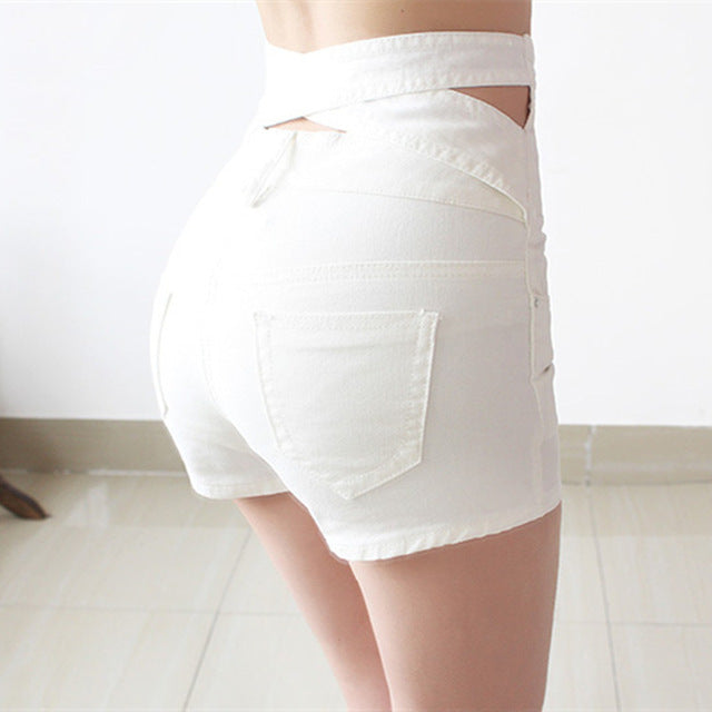 Hollow Out Black Skinny High Waist Shorts Summer New Women White Slim Sexy Denim Shorts Black Short Jeans Feminino - Sheseelady