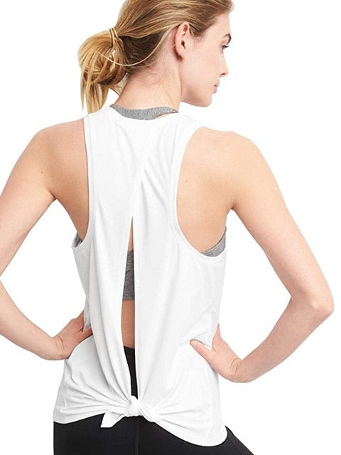 Activewear Running Workouts Open Back Yoga Tops Sexy Blouse Gym - Sheseelady