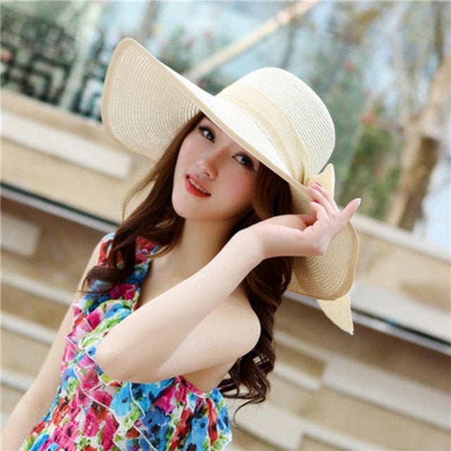 Summer Large Brim Straw Hat Floppy Wide Brim Sun Cap Bowknot Beach Foldable Hats