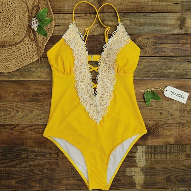 Sexy One Piece Swimsuit Bathing Suit Vintage Bikini