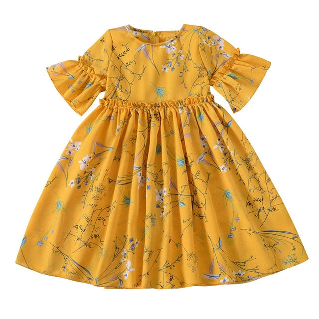 Casual Flare Sleeve Floral Print Girls Kids Dresses - Sheseelady