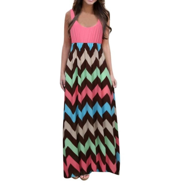 Striped Long Dress Lady Beach Summer Maxi Dress