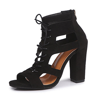 Spring Women Pumps Black Suede Fabric Cross Strap Platform High Thick Heel Sandals Ladies Shoes Wedding Lace Up Open Toe