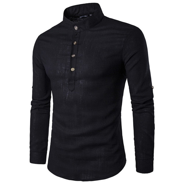 Mandarin Collar Breathable Comfy Style Dress Shirts