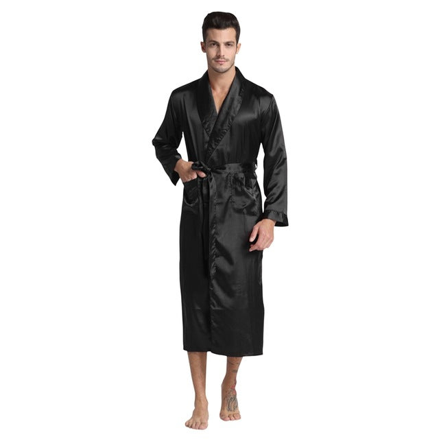 Men'S Silk Satin Bathrobe Robe Long Solid Silk Pajamas