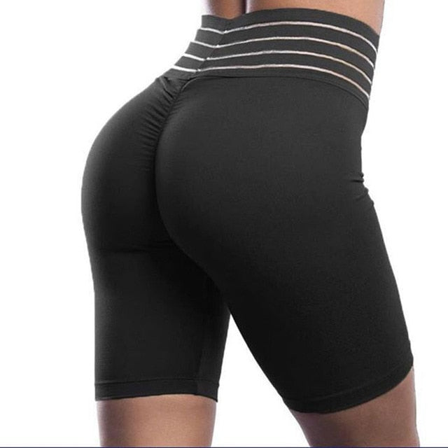 Striped High Waist Biker Shorts Ruched Push Up Short Pants Fitness Athleisure Active Wear Biker Shorts