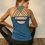 Dry Fit Crisscross Back Strappy Yoga Tops Blue Wourkout Clothes Activewear Built In Bra Gym Tank Tops For Women Running Shirts - Sheseelady