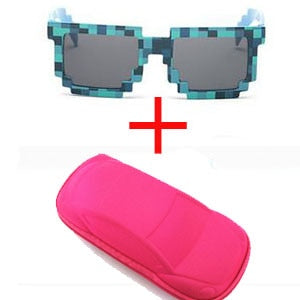 Vintage Square Sun Glasses With Case For Unisex