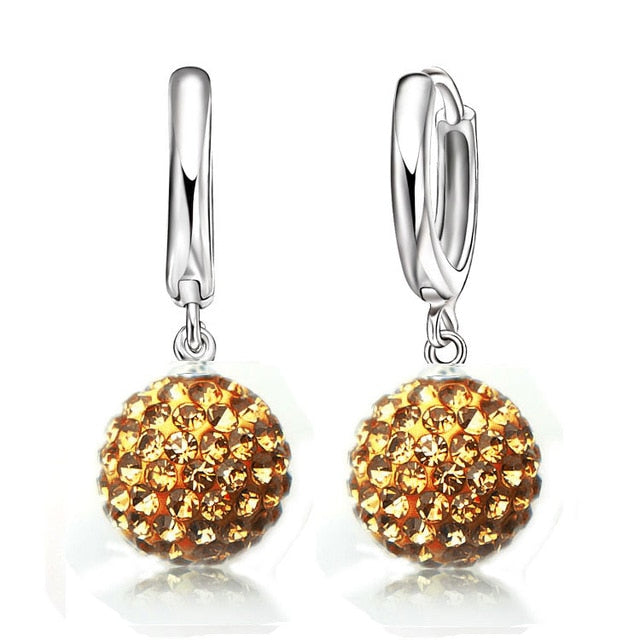 Multi Colors 1 Pair Real Pure 925 Sterling Silver Austrian Pave Disco Ball Hoop Lever Back Earring Woman Jewelry