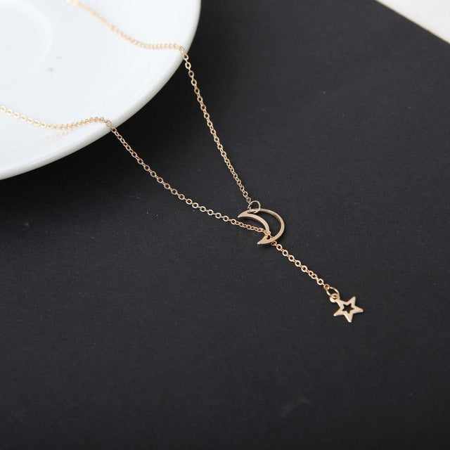 Fashion Moon Star Pendant Choker Necklace Gold Color Alloy Zinc Chain Necklace Necklace For Women Party Jewelry Archery Necklace - Sheseelady