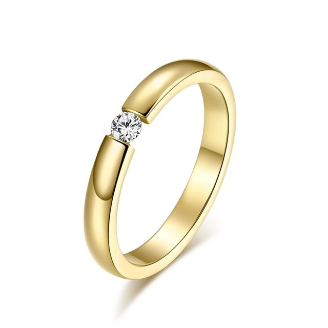 Engagement Ring For Women Stainless Steel Silver Gold Color Finger Girl Gift Us Size 5 6 7 8 9 10 - Sheseelady