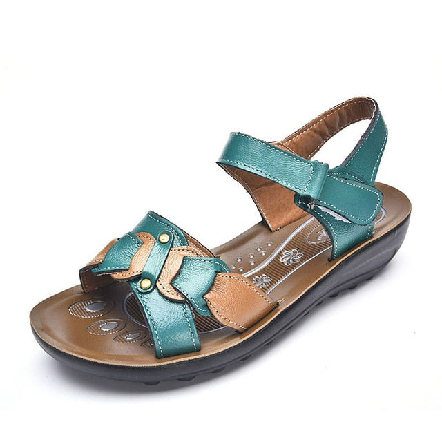 Casual Genuine Leather Sandals Women Wedge Sandals Platform Summer Shoes Ladies Sandalias Beach Shoes Chaussures Femme - Sheseelady