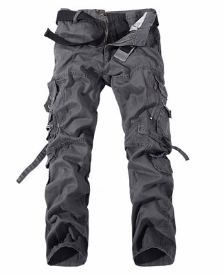 Men Cargo Pants Army Big Pockets Decoration Mens Casual Trousers Wash Male Autumn Army