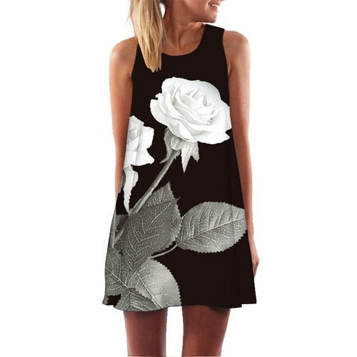 Rose Print Sleeveless O Neck Casual Loose Mini Chiffon Dress