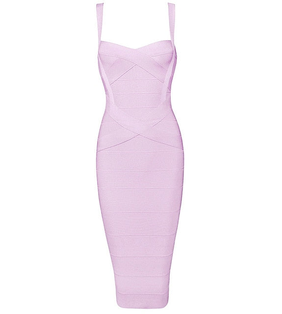 Midi Bandage Sexy Spaghetti Strap Bodycon Club Party Dresses