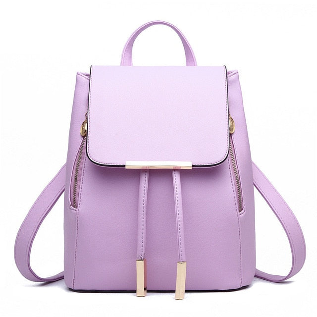 Pu Leather And Preppy Style Hasp Closure Bag For Teens Girls