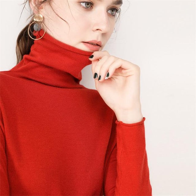 Gejasainyu 2019New Women Sweaters Fashion Women Turtleneck Cashmere Sweater Women Knitted Pullover Women Sweter Winter Tops - Sheseelady