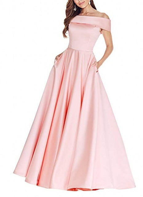 A Line Floor Length Party Long Prom Dress - Sheseelady
