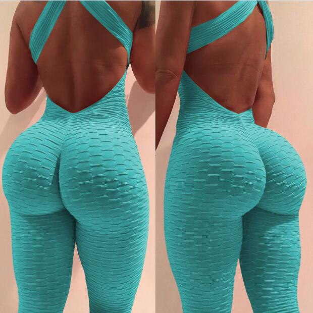 Textured Hollow Bodysuit Fitness Playsuit Mesh Sexy Women Jumpsuit Tank Romper Catsuit Macacao Womens Jumpsuit Combinaison Femme
