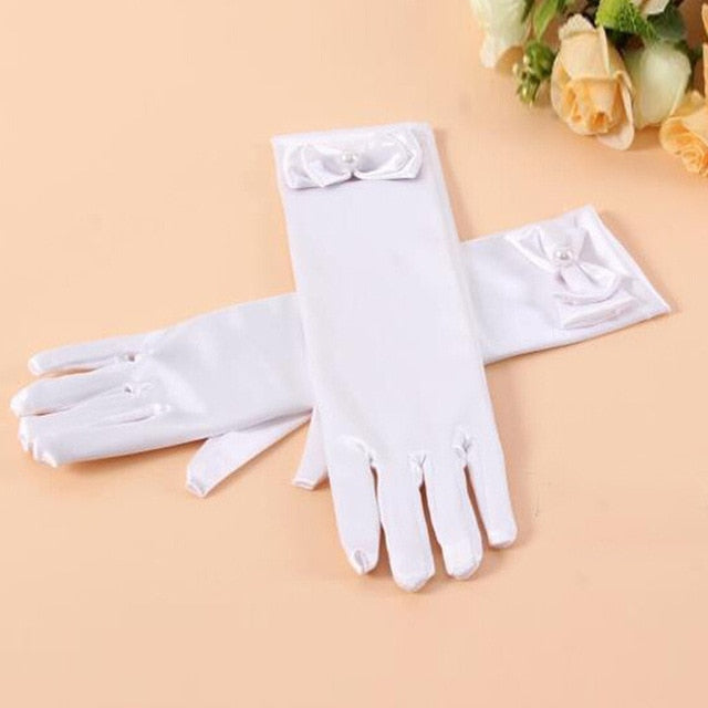 Children 'S Day Princess Dance Performance Gloves Dress Long Princess Gloves Girls Dress Accessories Baby Satin Gloves - Sheseelady