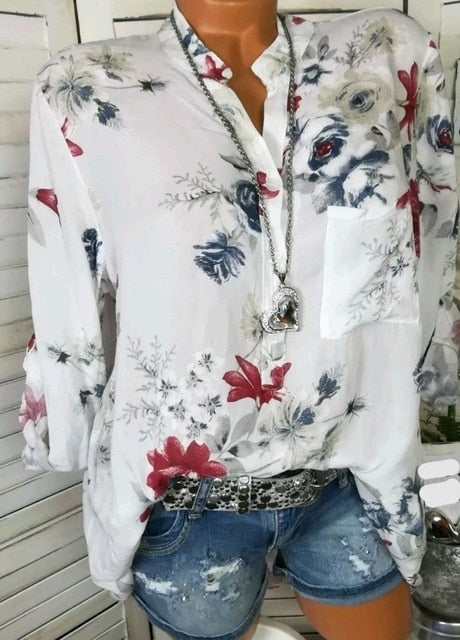 Spring Casual V-Neck White Chiffon Blouse