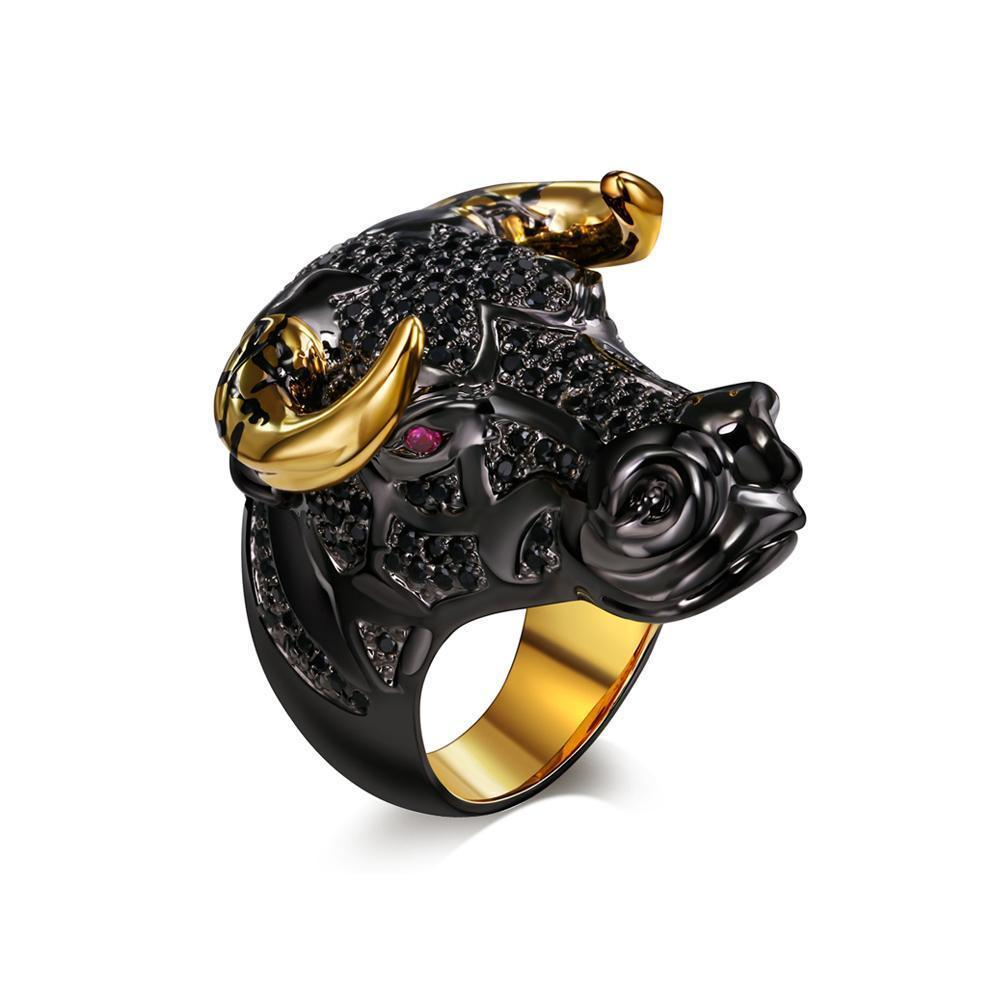 Premium Quality Lucky Bull with Golden Horns CZ Supreme Unisex Versatile Ring-Rings-dreamcarnival1989 Official Store-DinoStreet