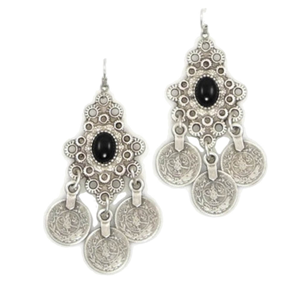 Vintage Silver Turkish Coin Earrings
