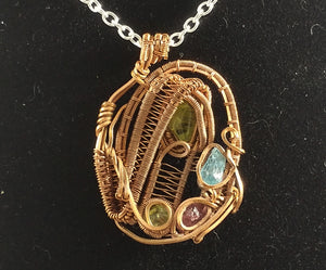 Moldavite, Apatite + more Wire Wrap