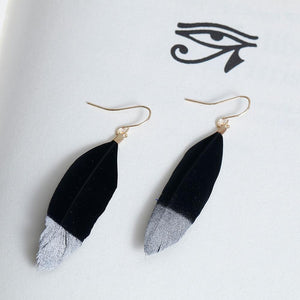 Natural Feather Drop Earrings