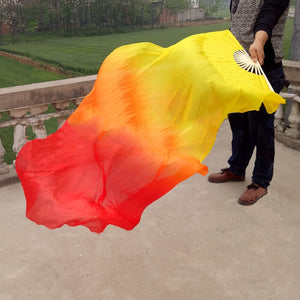 Beautiful Silk Three Color Gradient Flame Dance Fan