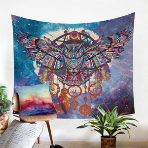 Owl Dream Catcher Tapestry