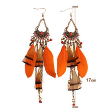 Long Tassel Feather Ethnic Boho Big Dangle Earrings