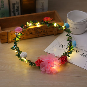 LED Light Flower Wreath Headband