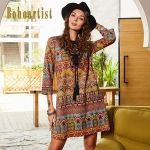 Women's Geometric Folk Dress