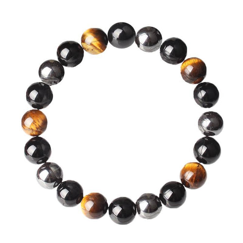 Tiger Eye, Hematite, Black Obsidian Natural Stone Bracelet