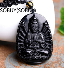Natural Black Obsidian Buddha Lucky Amulet