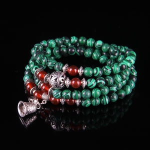 Natural Green Malachite and Garnet 108 Bead Tibetan Prayer Rosary Mala