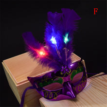 Sexy Lace Eye Mask Venetian Masquerade Ball LED Feather Mask