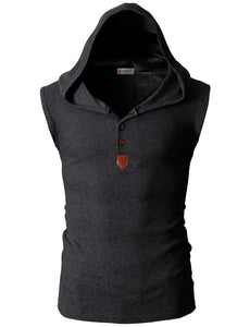 Men's Solid Color Hooded Tanks