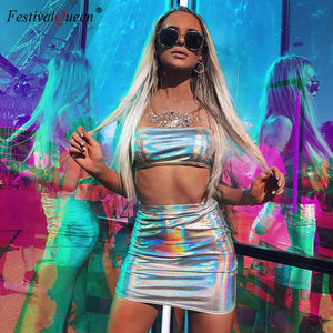 Festival Queen sexy iridescent silver holographic crop top