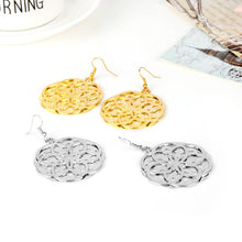 Flower of Life Hollow-out Mandala Floral Dangle Earrings