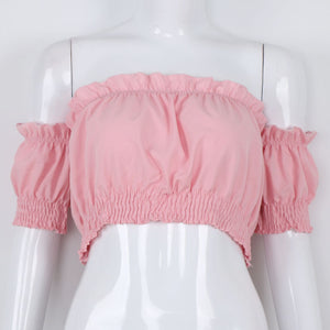 Forefair Summer Lantern Sleeve Off Strapless Beach Top