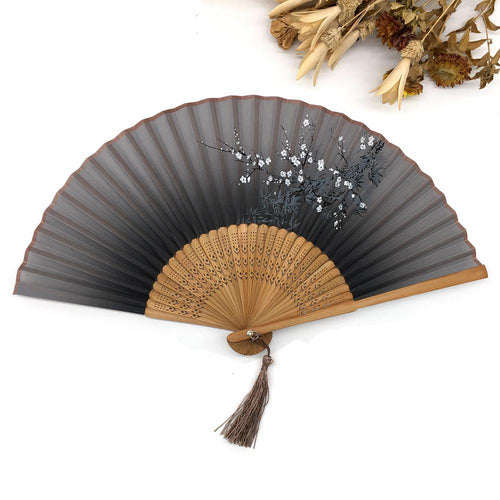 Vintage Chinese Spun Silk Flower Printed Folding Hand Fan