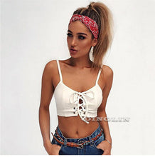 Women's White Lace Up Camisole Tank