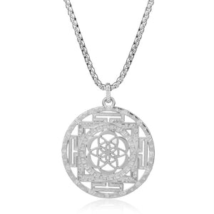 Flower of Life Mandala Necklace in Gold and Silver