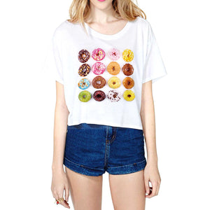 Nutella/Donut Print White Crop Tops