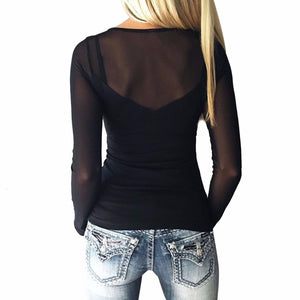Women's Long Sleeve O-Neck Black Lace Shirt
